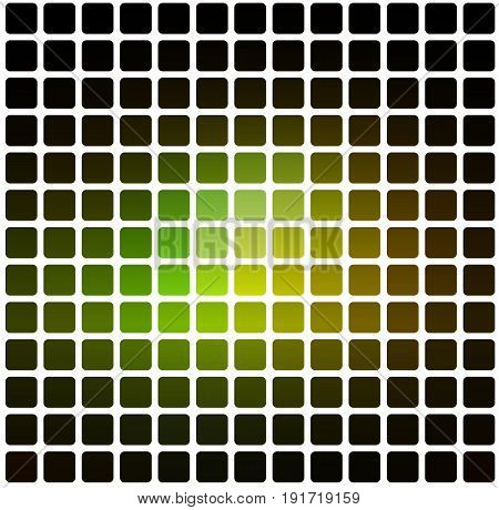 Green Brown Yellow Black Rounded Mosaic Background Over White Square
