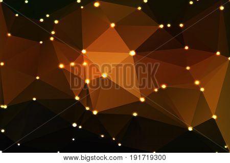 Black Orange Yellow Geometric Background With Lights
