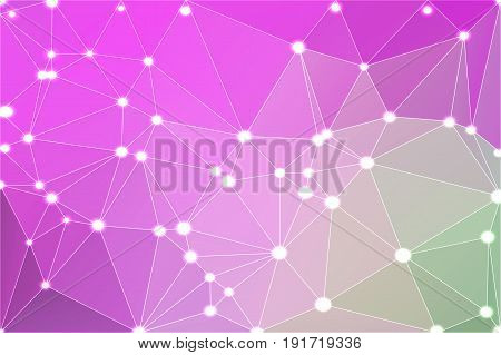Purple Green Pink Geometric Background With Mesh And Lights