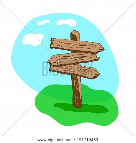 Cartoon style wooden sign standing in grass. Three arrow shapes blank wooden signpost