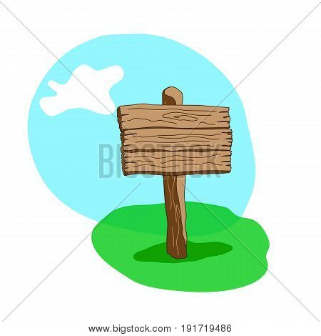 Cartoon style wooden sign standing in grass. Square shape signpost