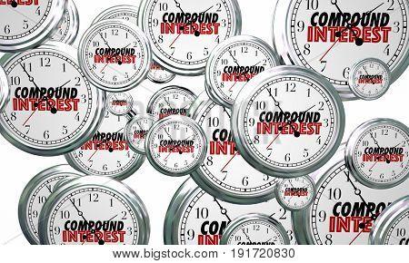 Compound Interest Grow Investment Clocks Flying 3d Illustration