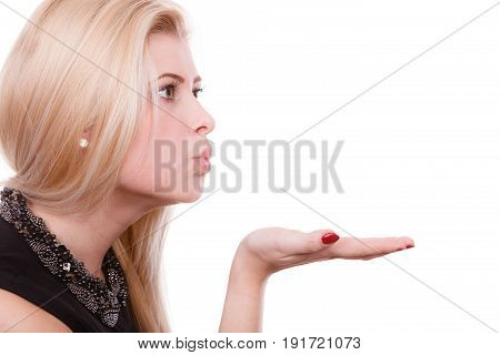 Blonde Woman Sending Air Kiss On Palm Hand