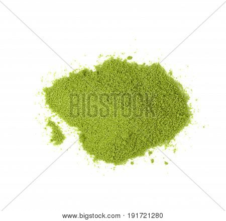 Matcha green tea isolated on white background