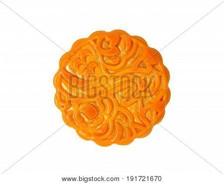 Tasty chinese mooncake isolated on white background