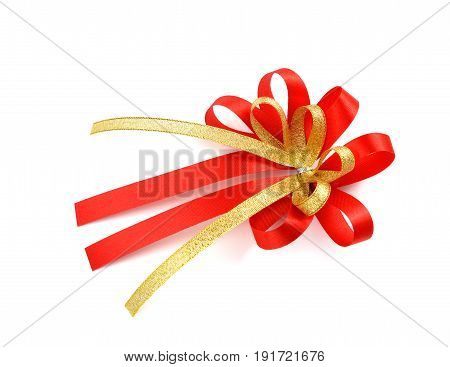single gift bow red satin with one ribbon isolated on white