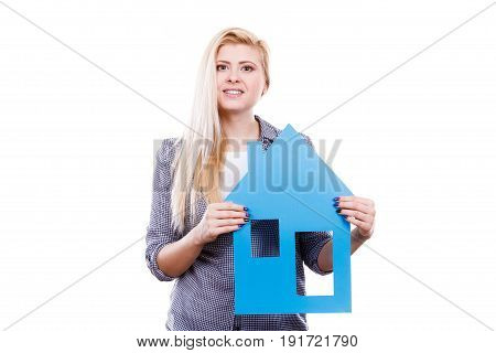 Happy Woman Holding Blue Paper House