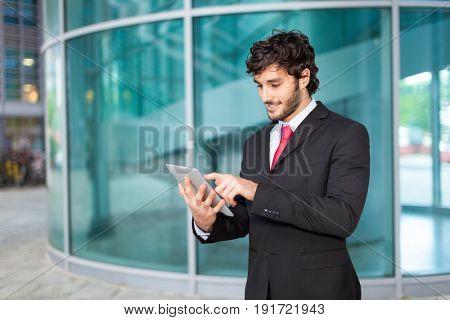 Businessman using a digital tablet