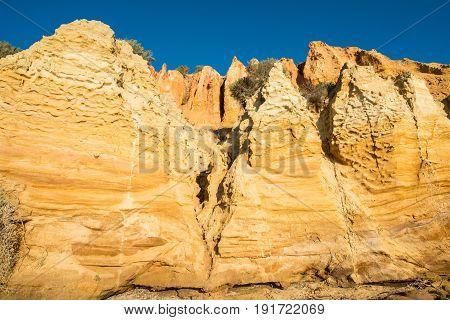 Sand stone pillars at Black rock beach in Sandringham suburb of Melbourne, Australia.