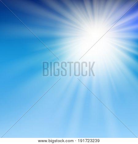 summer sun light in the blue sky. Vector illustration.