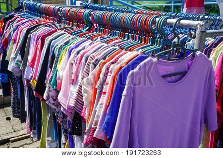 Labuan,Malaysia-May 21,2017:Various kind of used clothes for sale at cheap bundle shops in Labuan,Malaysia.Used clothes or 'bundle' from Japan,it have been a trend in Malaysia,especially in Labuan.
