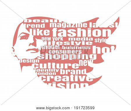 Face front view. Elegant silhouette of a female head. Vector Illustration. Monochrome gamma. Fashion Relative Keywords Cloud