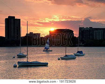 Sailboat Sunset over Lake Calhoun in Minneapolis, Minnesota, USA