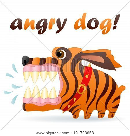Angry dog. Cartoon character. White background Vector illustration