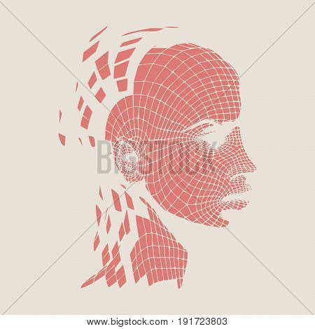 Head of the person from a 3d Grid. Human head wire model. 3D geometric face design. Polygonal covering skin.
