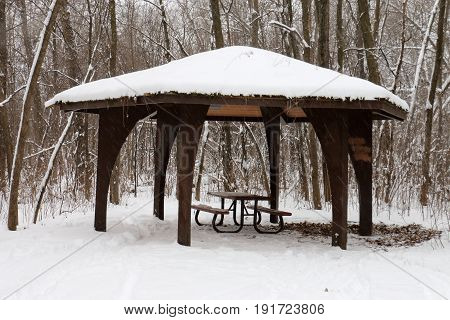 Snowy Picnic Pavilion in the Forest near Minneapolis, Minnesota, USA