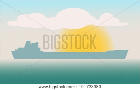 Cargo ship sailing in the sea. Multi-purpose vessel. Chemical or product tanker. Carries cargo, goods and materials from one port to another.
