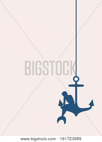 Vector illustrations of silhouette of beautiful mermaid. Short hair. Woman is sitting at anchor.