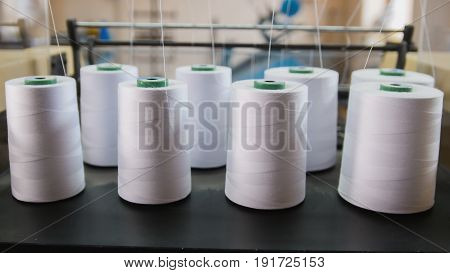 Paper yarn for printing in a machine, close-up