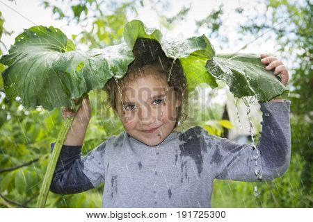 On a rainy day in the summer a small happy girl hides from the rain under a large burdock leaf.