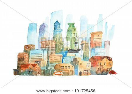 Watercolor painting of big modern city of New York hand drawn on white background.