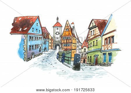 Hand drawn watercolor painting of old town in Germany. Romantic cityscape of Bavarian town Rothenburg ob der Tauber painted on white paper.