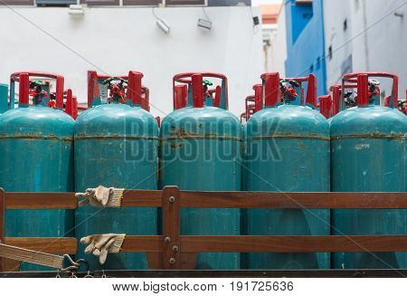 LPG cooking gas tank cylinders Consumers for household appliances and restaurants.