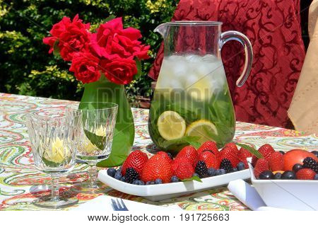 A table set in a summer garden with fresh fruit, hat, book and lemonade with a garden view