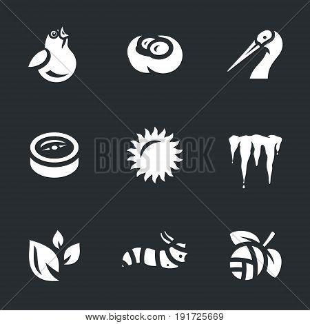 Bird, nest, crane, compass, sun, icicles, foliage, caterpillar, bud.