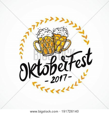 Oktoberfest 2017. Vector illustration on white background. German folk festivities. Lettering and calligraphy. Two mugs of beer.