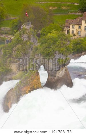 The largest waterfall in Europe by River Rhein in Switzerland
