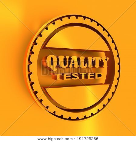 Stamp icon. Graphic design elements. 3D rendering. Quality tested text. Golden metallic material