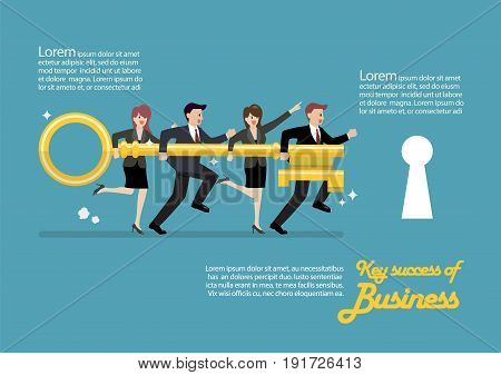 Infographic of business team holding golden key to unlock the lock. Business concept