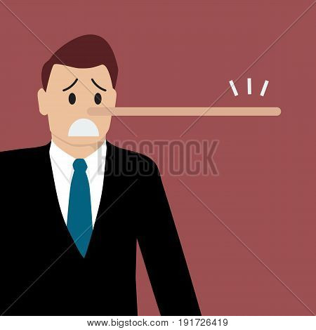 Lying sman with long nose. Vector illustration