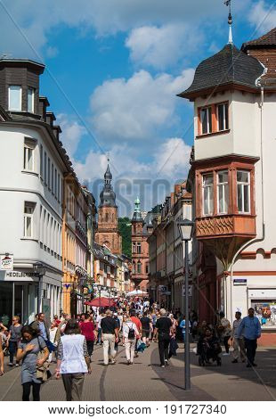 Heidelberg, Germany - June 4, 2017: Heidelberg Touristic Central Street With A View To The City Cath