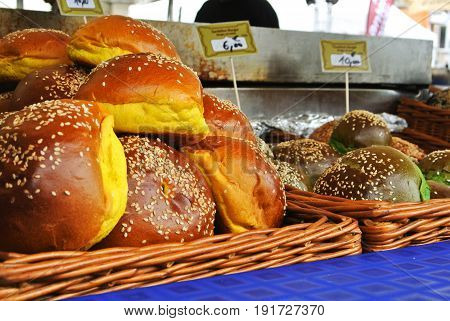 Frankfurt, Germany - June 6, 2017: A Set Of Fresh Burger Buns Of Different Color With Sesame Seeds I