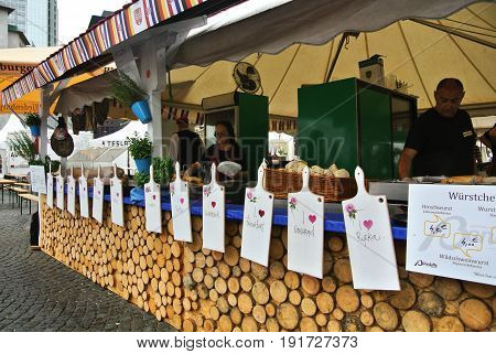 Frankfurt, Germany - June 6, 2017: Market With Food Of Croatia At The Food Festival At Frankfurt, Ge