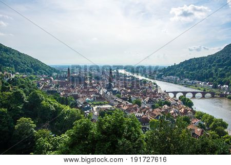 Panoramic View Of Heidelberg Medieval Town And Neckar River From A Castle Hill, Germany.