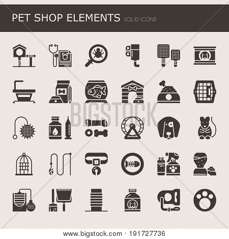 Pet shop elements , solid icons and pixel perfect icons