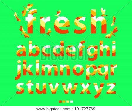 Vector of stylized Lowercase orange font and alphabet