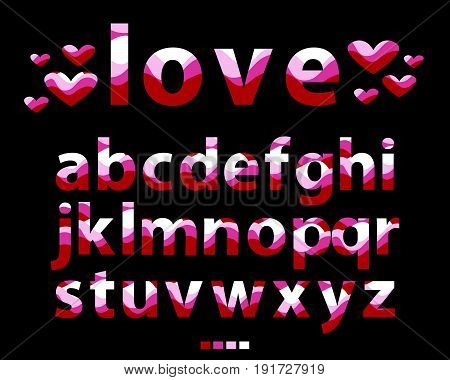 Vector of stylized lowercase red font and alphabet