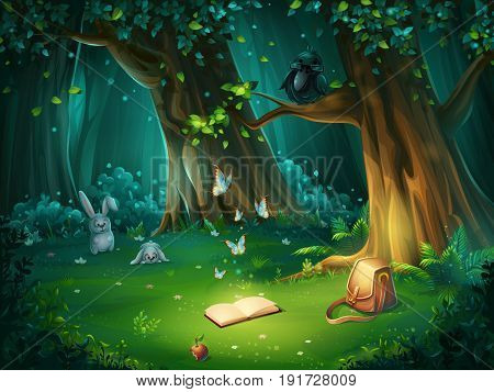 Vector cartoon illustration of background forest glade. Bright wood with hares butterflies and an owl in glasses book apple travel bag. For design game websites and mobile phones printing.