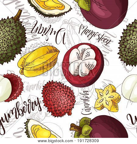 Vector seamless pattern with fruits. Durian and carambola and yumberry and mangosteen background. Hand drawn elements