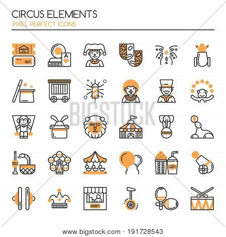 Circus Elements Thin Line and Pixel Perfect Icons