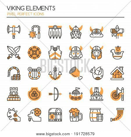 Viking Elements , Thin Line And Pixel Perfect Icons