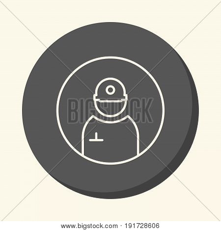Avatar silhouette of a man in a helmet and pencil in his pocket vector round line icon with illusion of volume simple color change