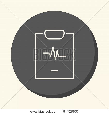 Cardiogram on a leaf a vector circular line icon with illusion of volume a simple discoloration