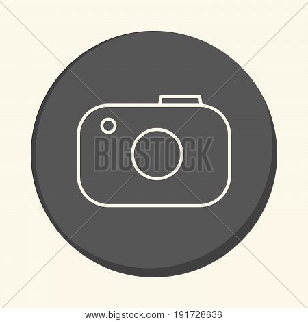 Stylized foto camera vector round line icon with illusion of volume simple color change