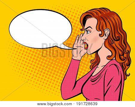 Woman shouts pop art retro vector illustration. Comic book style imitation.