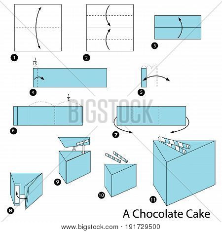 step by step instructions how to make origami A Chocolate Cake